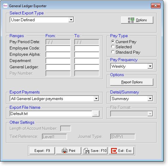 Exo Payroll - Export General Ledger