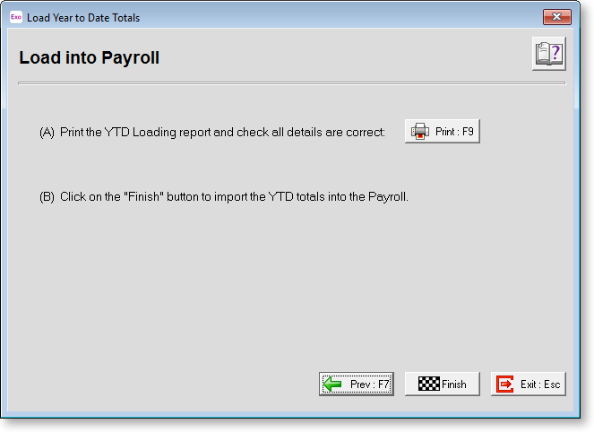 Exo Payroll - Loading Year To Date Totals