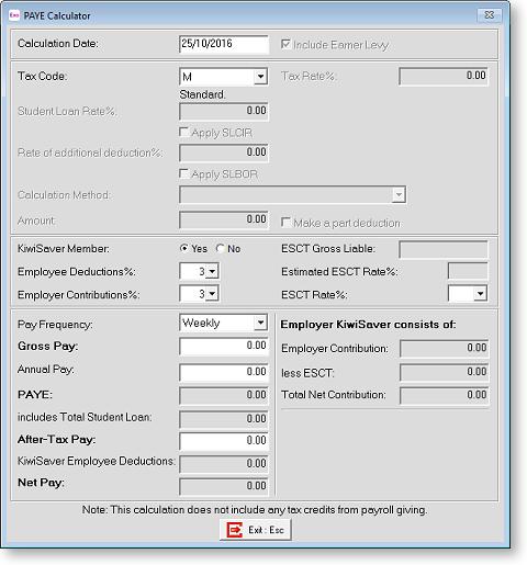 exo payroll paye calculator
