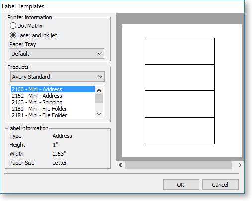 printing label templates