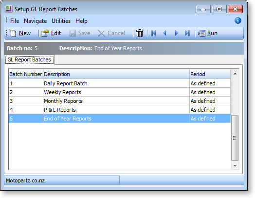 General Ledger Report Batches